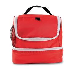 Сумка-кулер (термос), дополнительный сетчатый карман сбоку, красный/белый фото