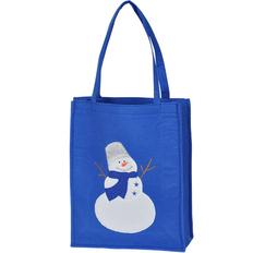 Сумка Снеговик с аппликацией, синий фото