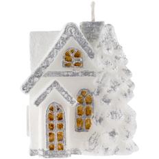Свеча Christmas Twinkle в виде домика, белая / серебристая фото