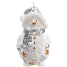 Свеча Christmas Twinkle в виде снеговика, белая / серебристая фото