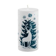 Свеча Magic Forest Deer с рисунком, белая фото