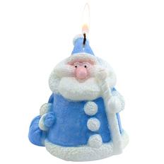 Свеча «Дед мороз», синяя фото