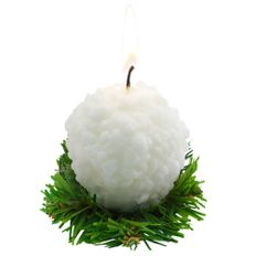 Свеча Снежок, белая фото
