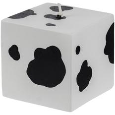 Свеча Spotted Cow в виде куба, белая / черная фото