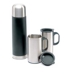 Набор: термос и 2 кружки, черный фото