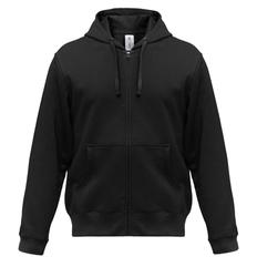 Толстовка мужская B&C Hooded Full Zip, черная фото