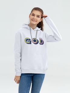 Толстовка с капюшоном «Новый GOD», белая фото