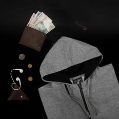 Толстовка женская Clique Classic Hoody Full Zip, серая фото