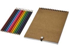 Набор для рисования Claude: блокнот, раскраска, карандаши цветные 12 шт, крафт фото