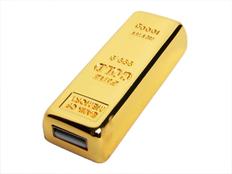 Флешка USB 2.0 на 64 Гб в виде слитка золота, золотистая фото