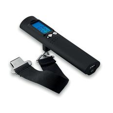 Весы багажные с внешним аккумулятором и фонариком, 2500 mAh, черные фото