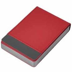 Визитница металлическая Вертикаль, красная фото
