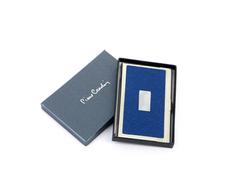 Визитница металлическая с вставкой из кожи, серый/синий фото