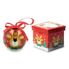 Шар елочный Олень в подарочной коробке, многоцветный фото