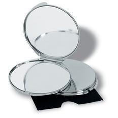 Зеркальце круглое металлическое, серебряный фото