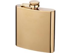 Золотистая плоская фляга Elixer объемом 175мл, золотистая фото