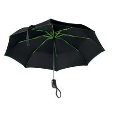 Зонт складной с цветными спицами автомат, черный / лайм фото