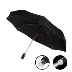 Зонт складной автомат c фонариком Farol, черный фото