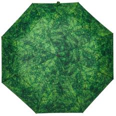 Зонт складной с принтом автомат Evergreen, зеленый / темно-зеленый фото