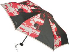 Зонт складной мини механический Ferre Milano, черный / красный/ белый фото