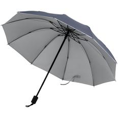 Зонт складной механический Silvermist, темно-синий / серебристый фото