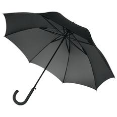 Зонт-трость антишторм полуавтомат Unit Wind, черный фото