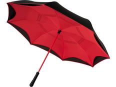 Зонт трость с обратным сложением механический Avenue Yoon, чёрный / красный фото