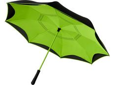 Зонт трость с обратным сложением механический Avenue Yoon, чёрный / салатовый фото