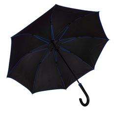 Зонт трость с цветными спицами полуавтомат Back To Black, черный / синий фото