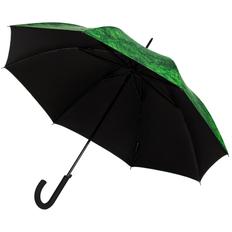 Зонт трость с принтом полуавтомат Evergreen, зеленый / темно-зеленый / черный фото