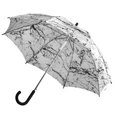 Зонт трость с рисунком полуавтомат Marble, черный / белый фото