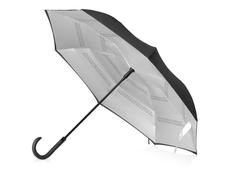 Зонт трость наоборот полуавтомат Inversa, серебристый / черный фото