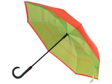 Зонт трость наоборот полуавтомат Inversa, оранжевый / салатовый фото