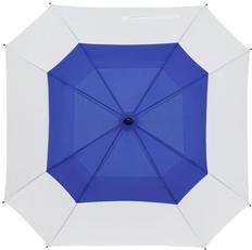 Зонт-трость полуавтомат квадратный с двойным куполом Molti Octagon, белый / голубой фото