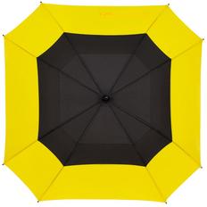 Зонт-трость полуавтомат квадратный с двойным куполом Molti Octagon, черный / желтый фото