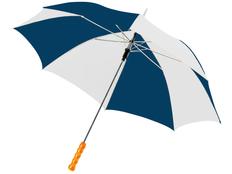 Зонт трость купол сегментами полуавтомат Lisa, белый / синий фото