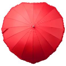 Зонт трость в виде сердца механический, ярко-красный фото