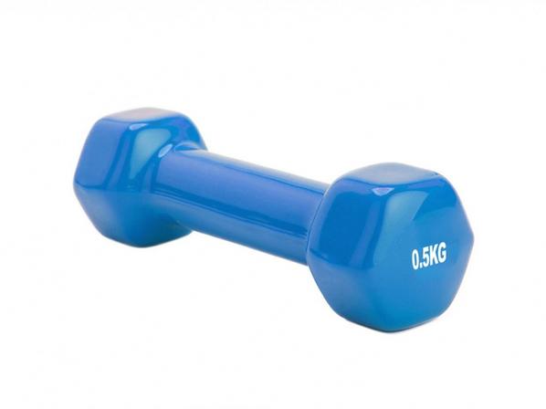 Гантель обрезиненная Alfina 0,5 кг, синяя