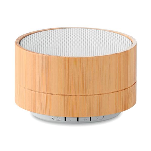 Колонка Bluetooth круглая, 450 mAh, алюминий, 7x4,3 см, 3 Вт, натуральное дерево/ белая - фото № 1