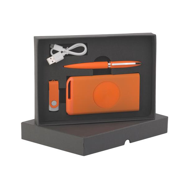 Набор: внешний аккумулятор Theta Wireless беспроводной, 4000 mAh, флешка Vostok, 16 Гб, ручка Rocket, оранжевый - фото № 1