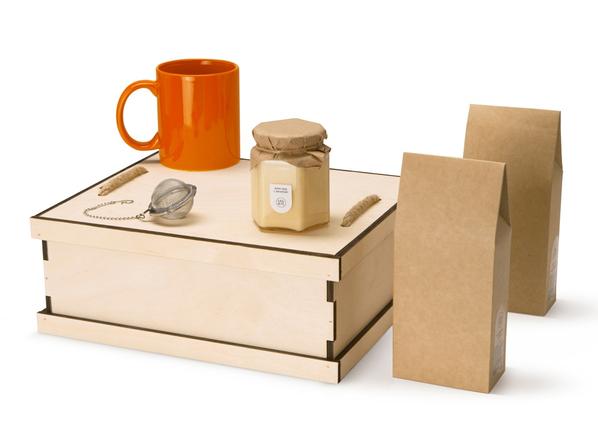 Набор подарочный Tea Duo Deluxe: кружка, мед, чай, ситечко, крафт / оранжевый - фото № 1
