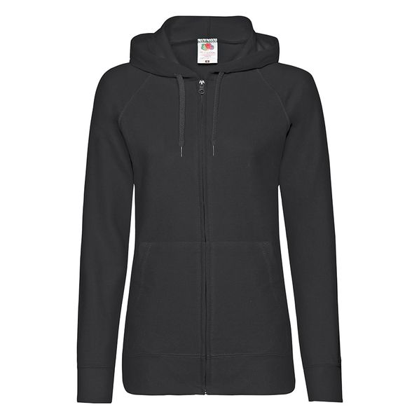 Толстовка Fruit of the Loom Ladies Lightweight Hooded Sweat, черный - фото № 1