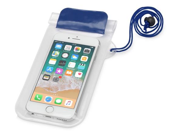 Чехол для телефона водонепроницаемый на шею Mambo, синий/ прозрачный - фото № 1