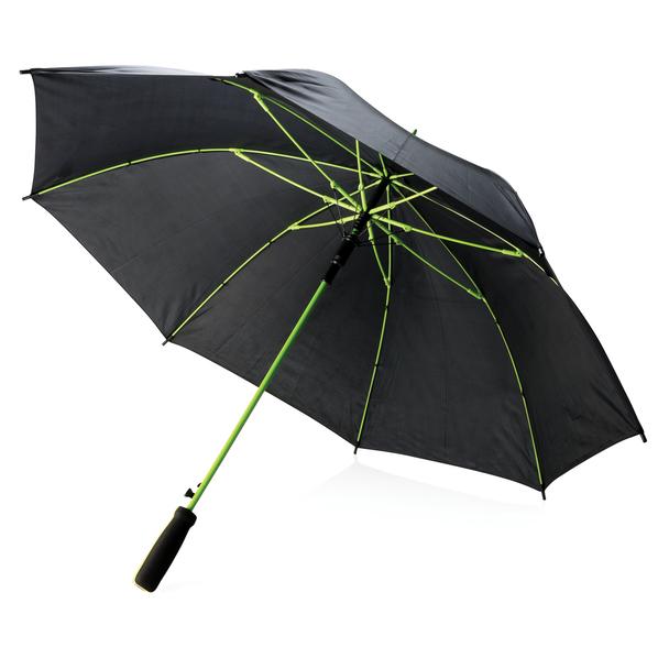 Зонт трость с цветными спицами полуавтомат XD Collection, черный / салатовый - фото № 1