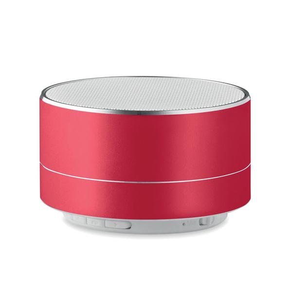 Колонка Bluetooth круглая, 450 mAh, алюминий, 7x4,3 см, 3 Вт, красная - фото № 1