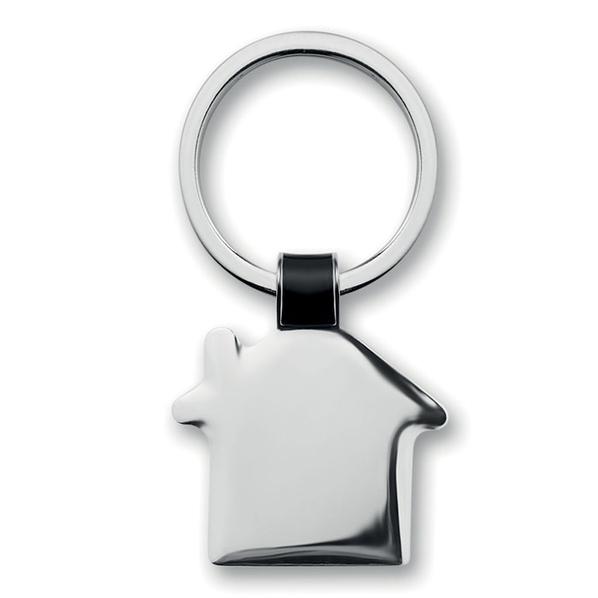 Брелок в виде домика без окон, серебряный - фото № 1
