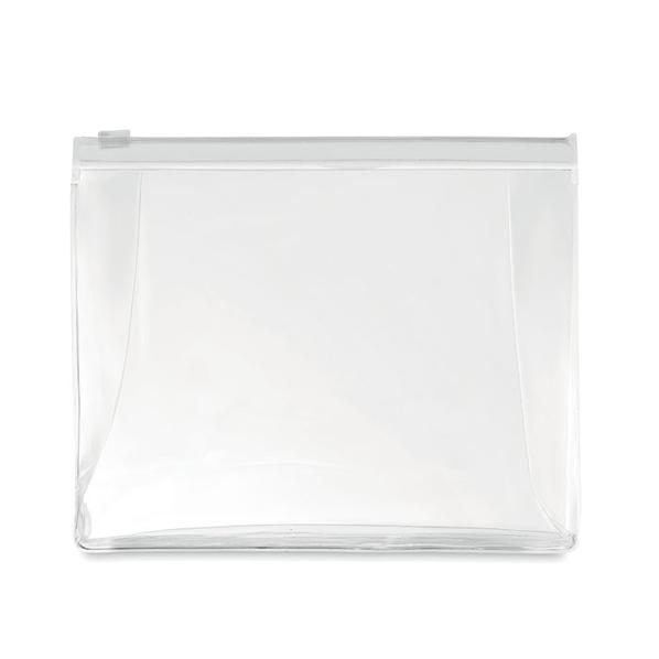 Косметичка из ПВХ на молнии, прозрачный, белый - фото № 1