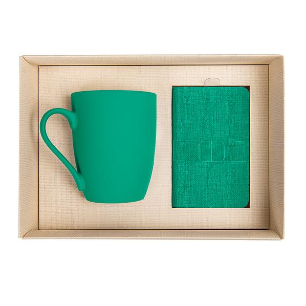 Набор Provence 2: зарядное устройство Provence 4000 mAh, кружка Sweet с покрытием софт тач, коричневый/ зеленый - фото № 1