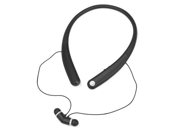 Наушники беспроводные внутриканальные спортивные, шейный обод, с микрофоном Soundway, черные/ белые - фото № 1