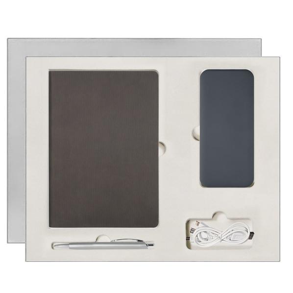Подарочный набор Portobello Rain: ежедневник недататированный А5, ручка, Power Bank, серый - фото № 1